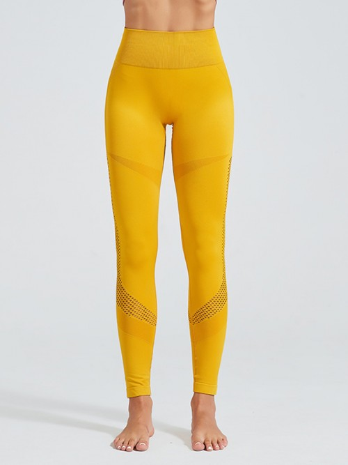 Dainty Yellow High Waist Seamless Yoga Leggings Elasticated
