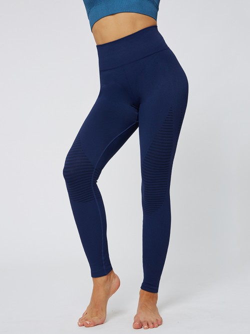 Boldly Navy Blue Seamless Yoga Leggings Solid Color Casual Wear