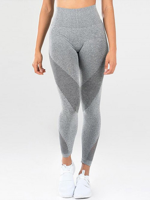 Particularly Gray 7/8 Length Tummy Control Yoga Pants For Women