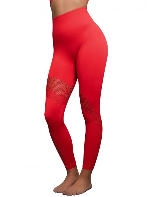 Svelte Style Red Solid Color Yoga Pants Seamless Mesh Comfort