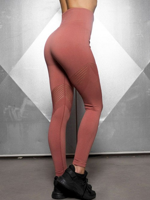 Delicate Jujube Red Seamless Yoga Legging Mesh Patchwork