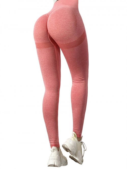 Cheap Pink Solid Color Full Length Sports Leggings Delightful Garment