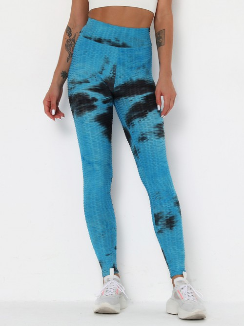 Lovable Blue Jacquard Sports Legging Full-Length Casual Look