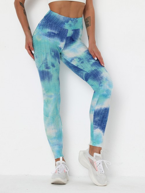 Sassy Light Blue Tie-Dyed Printed Jacquard Yoga Pants Sport Series