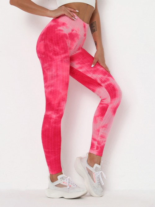 Comfortable Pink Tummy Control Tie-Dye Running Pants For Holiday