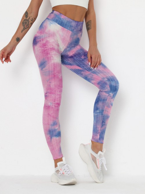 Remarkable Purple Legging Tie-Dye Jacquard High Waist Leisure