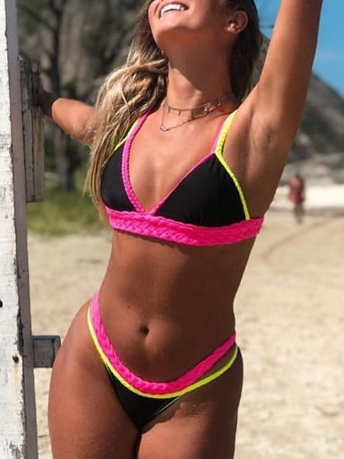 Perfectly Black Open Back Braid Bikini Colorblock Essential Choice