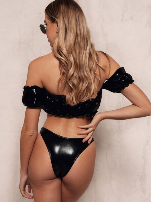 Alluring Black PU Leather Bikini High Cut Backless Summer Time