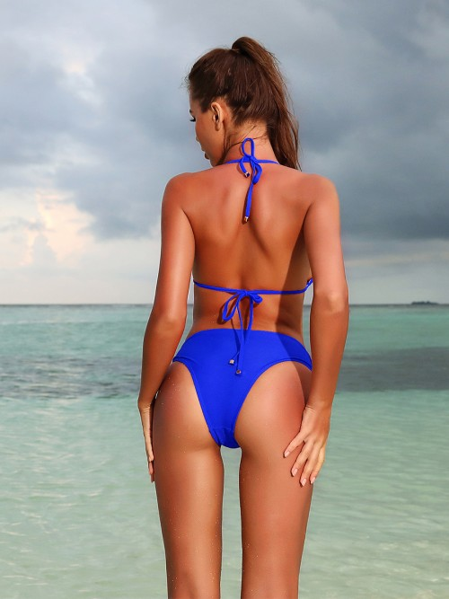Alluring Blue Low Waist Zipper Bikini Backless Fashion Top