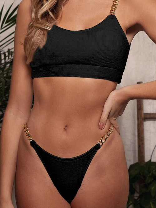 Feisty Black Chain Strap Bikini High Cut Backless Fashion Forward