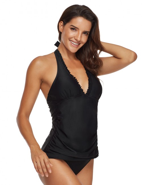 Explorer Black Plunging Halter Neck Tankini Sets Backless Cheap Online