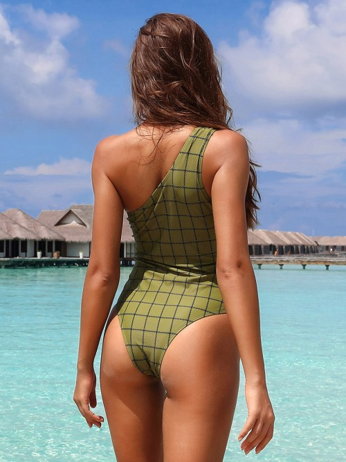 Plain Army Green Plaid Paint Single Shoulder Monokini For Lover