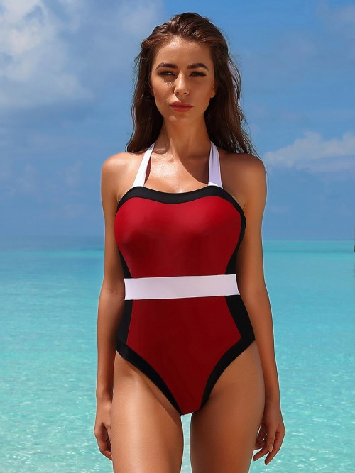 Asymmetrical Wine Red One Piece Swimwear Open Back Patchwork