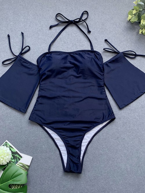 Surfing Dark Blue One Pcs Swimwear Tie High Cut Summer Beach Time
