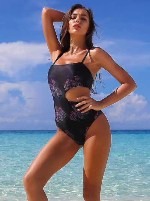 Energetic Floral Printed Cutout Bathing Suit Online Shopping