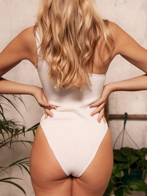 Cheeky White One Piece Knit Swimsuit One Shoulder Leisure Time