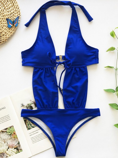 Swimming Blue Halter Neck Backless One Piece Swimwear Ladies