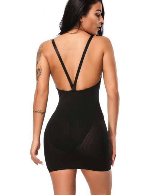 Contour Black V Neckline Stretch Slip Open Back Fashion Comfort