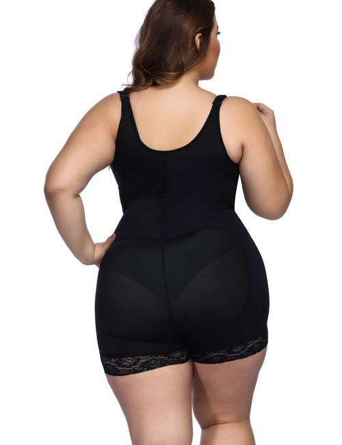 Latex Interlayer Black Bodysuit Shaper Queen Size Figure Slimmer