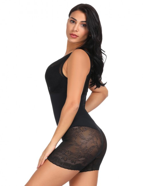 Classic Black Lace Trim V Shaped Bodysuit Shapewear Weekend Fashion