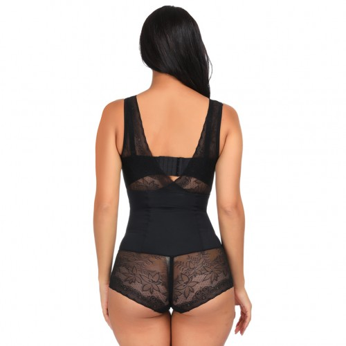 Post Surgery Black V Neck Body Shaper Wide Straps Lace Fitted Curve