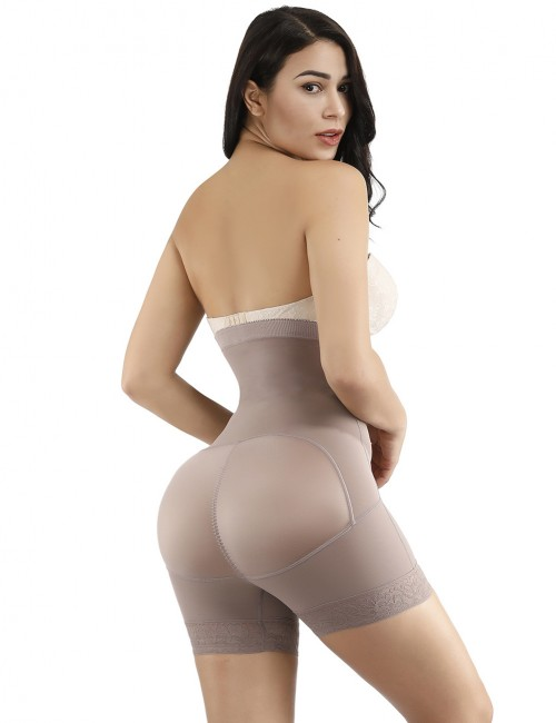Supper Fashion Brown Large Size High Waist Butt Enhancer Hooks Shaping Comfort