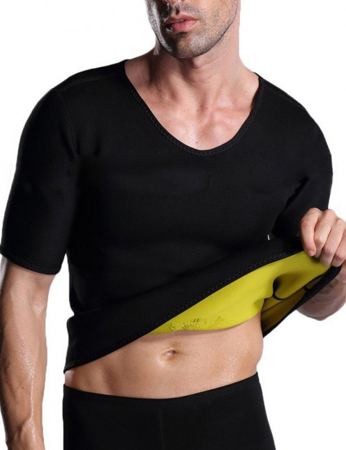 Figure Shaper Black Mens Neoprene Shaper Tank Short Sleeve Plus Size