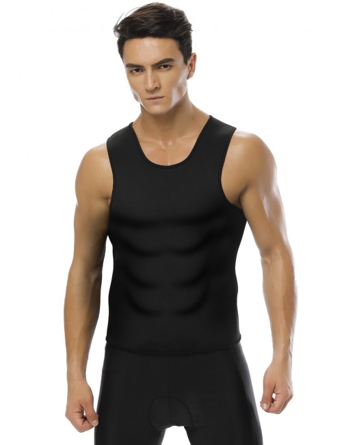 Mens Neoprene Spotlight Black Large Size Vest Shapewear