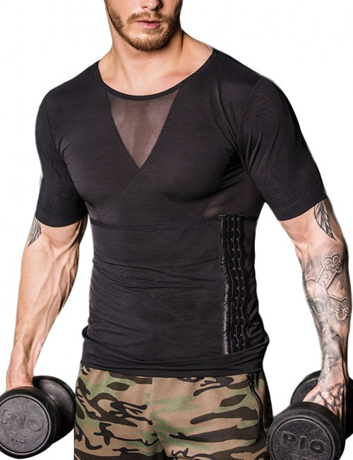 Superfit Everyday Black Cross Stomach Trimmer Top Shaper Pull Back