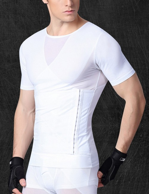 Amazing White Strengthen Abdomen Shapewear Male Crossover Perfect-Fit