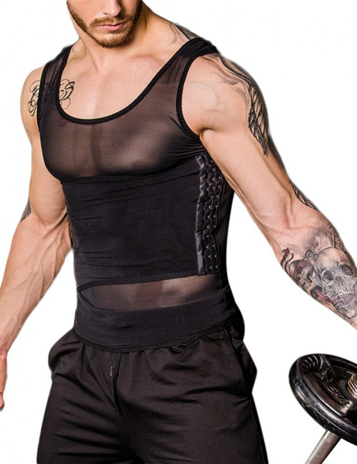 Impeccable Black Mesh Men Tank Shaper Crossover Pull Back Curve-Creating