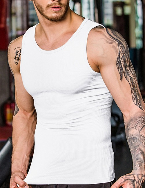 Classic White Seamless Belly Slimming Vest Male Weekend Fashion