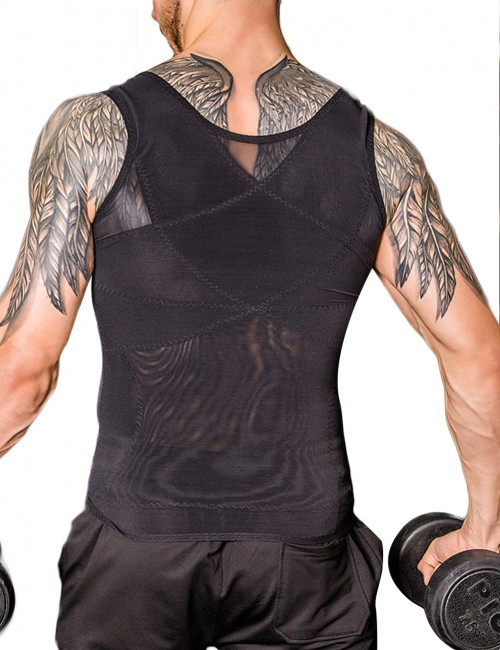 Skin-Friendly Black Crossover Slimming Male Tank Top Pull Back Design