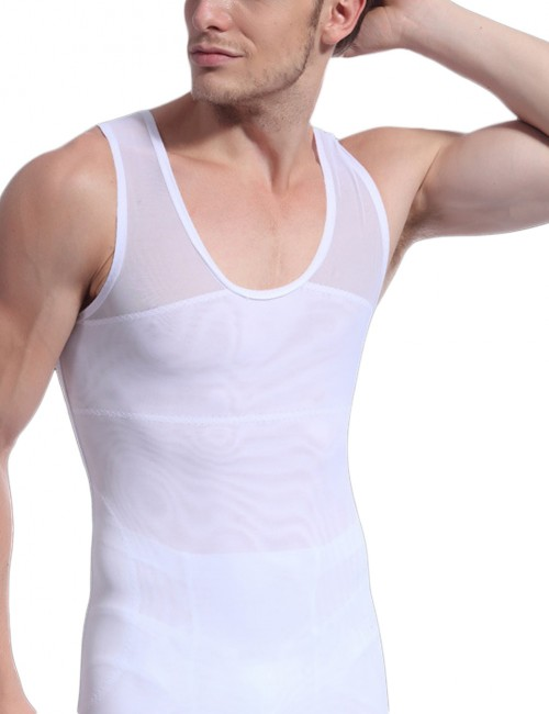 Flat Out White Men Patchwork Sleeveless Shaper Cross Back Meticulous Design