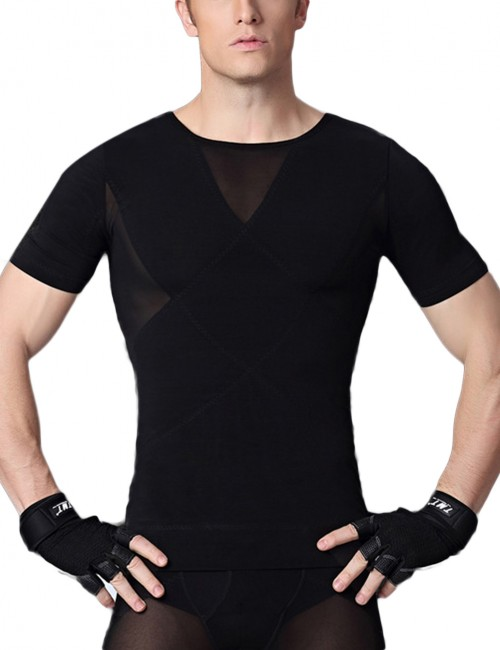 Black Rhombic Double-Layer Male Shaper Pull Back Tight Fitting