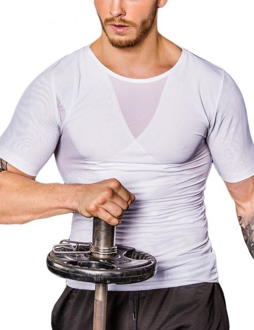Crossover Top Ultra Cheap White Mens Short Sleeved Mesh Slimming