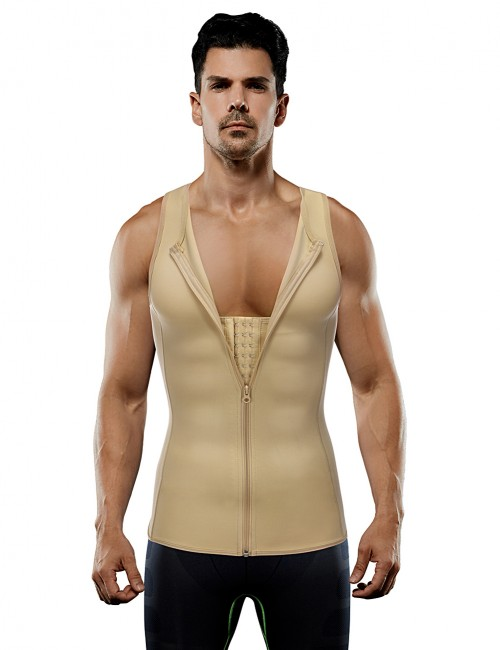 2 Steel Large Size Nude Boned Hooks Zip Men's Vest Shapewear Higher Power