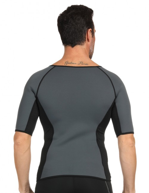 Queen Size Dark Grey Men's Neoprene Shaper With Zipper Potential Reduction