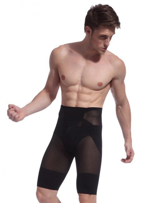 Natural Shaping Black Men U-Shaped High Waist Body Shaper Mesh