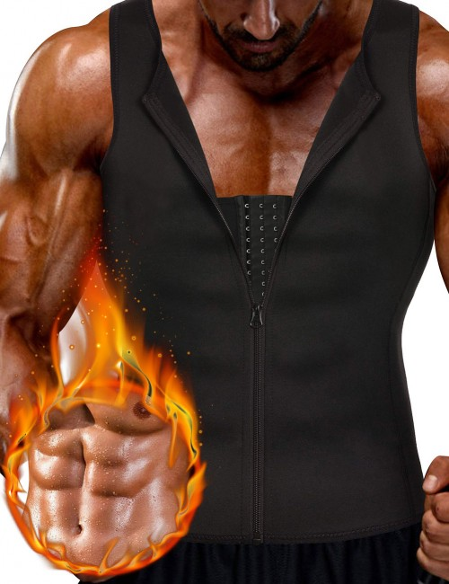 Flawlessly Black Neoprene Mens Big Size Slimming Vest 3 Rows Hooks Weight Loss