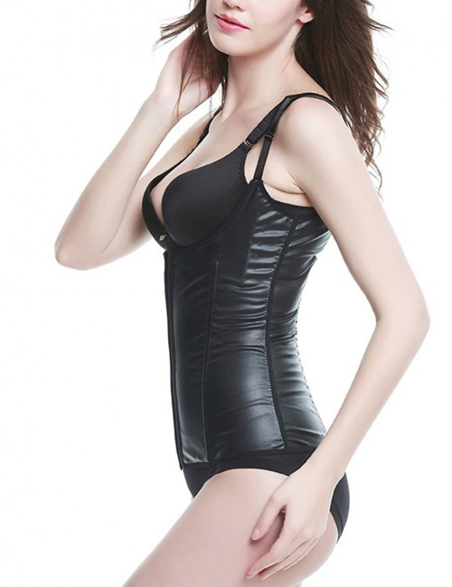 Durable Black PU Underbust Shapewear With Eye Hook Ultra Light