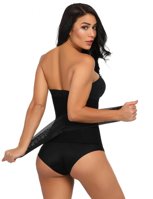 Black Plus Size 16 Steel Boned Waist Cincher Bandage High-Compression