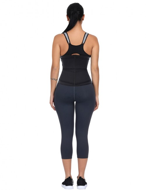 Black Adjustable Compression Double Belt Waist Trainer Tummy Control
