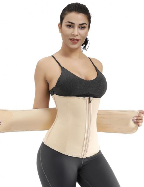Natural Curve Big Size 7 Steel Boned Zipper Waist Cincher Layered