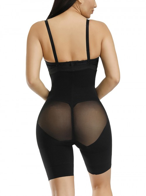 Exquisite Black Full Body Shaper Open Crotch Hook Front Hidden Curves