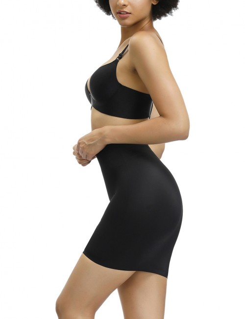 Compression Black High Waist Solid Color Butt Lifter Skirt Tummy Training