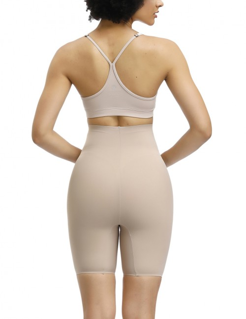 Enthralling Skin High Waist Solid Color Mid-Thigh Short Curve-Creating
