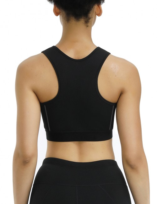 Black Wide Straps Wireless Neoprene Sport Bra Intant Shaping