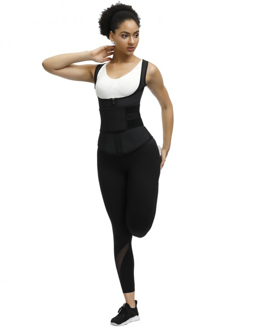 Comfort Black Wide Straps Zipper Steel Bones Tank Shaper Tummy Trimmer