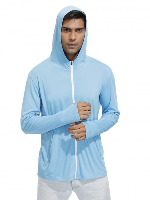Sensual Curves Blue Hooded Zipper Sport Top Thumb Hole Moving